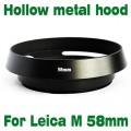 For Leica M LM Summicron black 58 mm 52mm Metal Tilted Vented Lens Hood shade