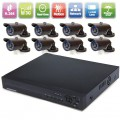 H.264 8CH Playback Simultaneously DVR & 8PCS 12leds infrared Night Vision Cameras Security System