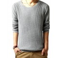 Cotton Pullover Crew Neck Knitting Long Sleeve Men Sweater
