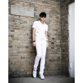 Casual Cotton Solid Pockets Zipper Middle Waist Elastic Men Trousers