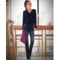 Casual Solid V Neck Chiffon Long Sleeve Buttons Pockets Women Blouse