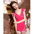 Slim Two Tone V Neck Short Sleeve Cotton Blend Women Dress