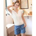 Casual Two Tone Denim Jointing Spandex Buttons Drawstring Women Rompers