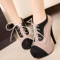 Lace Up Two Tone Stiletto Front Lift High Heel Women Shoes