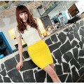 Pure Color Stylish All Matching A line Pleated Slim Skirt T/C Blend Yellow